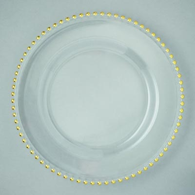 Glass Charger Plate 13 Quot Gold Bead Rim 4 Set